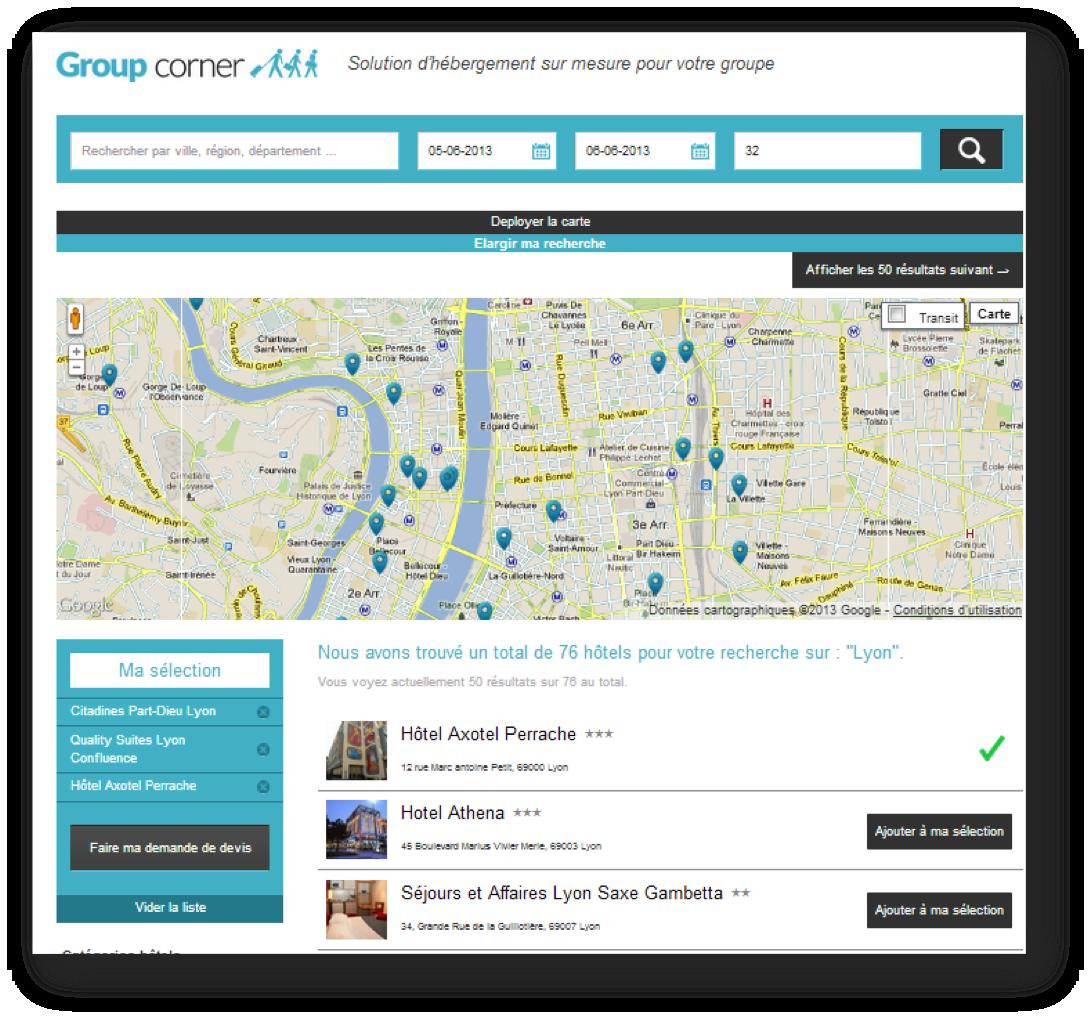 Lancement de groupcorner un nouveau moteur de recherche for Moteur de recherche reservation hotel