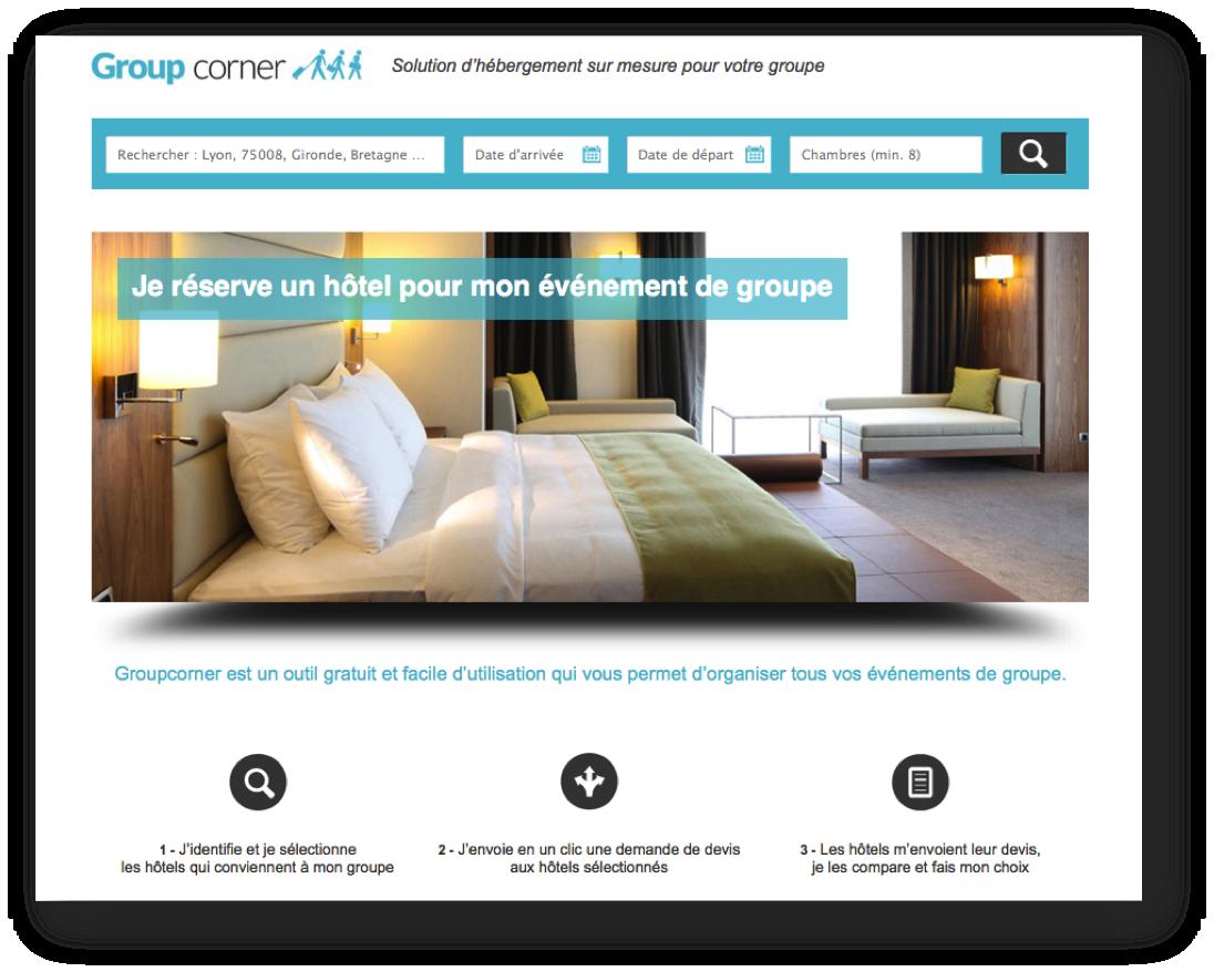Lancement de groupcorner un nouveau moteur de recherche for Moteur recherche hotel